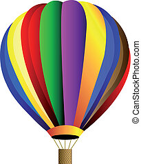 caldo, vettore, balloon, aria