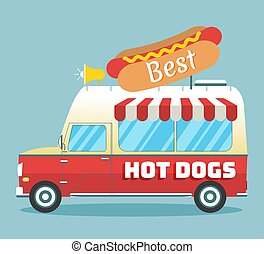 caldo, vettore, camion, cani