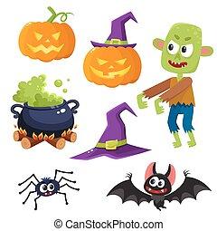 caldron, halloween, spinne, fledermaus, -, zombie, satz, hexenhut, laterne, kã¼rbis