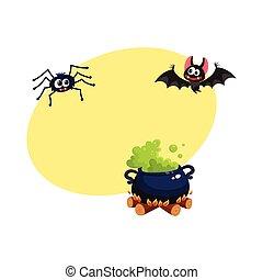 caldron, morcego, e, aranha, tradicional, dia das bruxas, símbolos, elementos