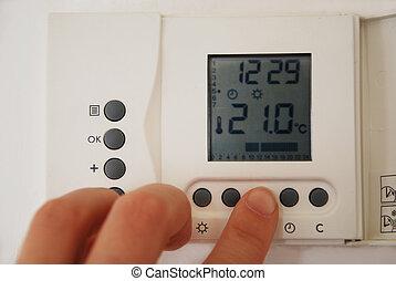 calefacción, ajuste, temperatura, mano, termostato