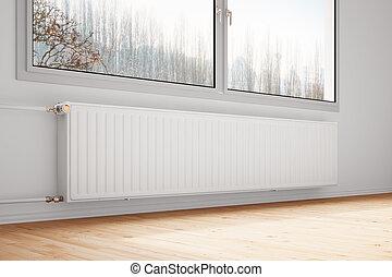 calefacción central, unido, a, pared, cerrado, windows