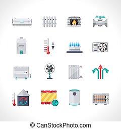 calefacción, iconos, conjunto