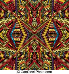 caleidoscópio, feito, de, étnico, patchwork, tecido