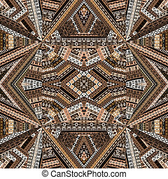 caleidoscópio, feito, de, marrom, tons, étnico, patchwork, tecido