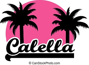 Calella with pink sun and palms