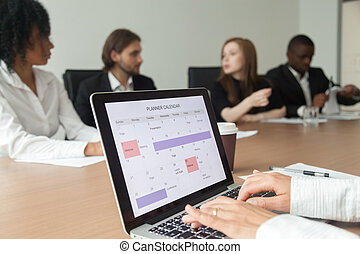 calen, kobieta, harmonogram, planowanie, praca, albo, planista, zrobienie, wypadki