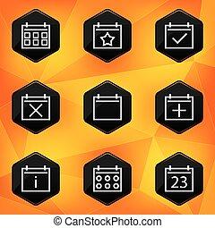 Calenadar. Hexagonal icons set on abstract orange background