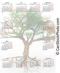 calendário, árvore, aquilo