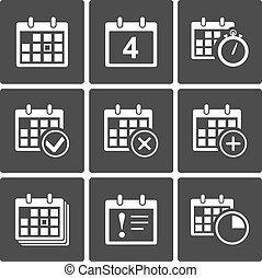 calendário, ícones, jogo