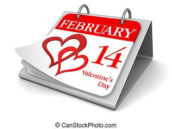 calendário, -, 14, fevereiro