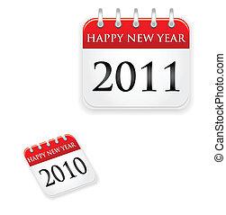 calendário, 2011, 2010, ano