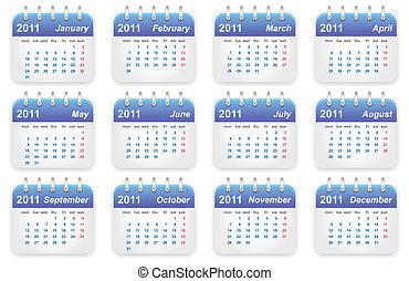 calendário, 2011, ano