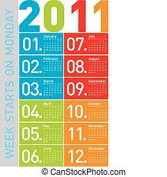 calendário, 2011, coloridos