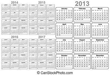 calendário, 2012, 2013, 2014, 2015, 20
