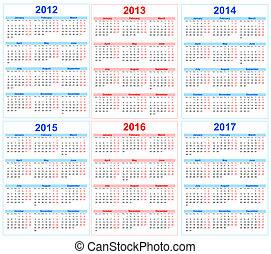calendário, 2012, 2013, 2014, 2015, 2016, 2017