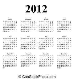 calendário, 2012