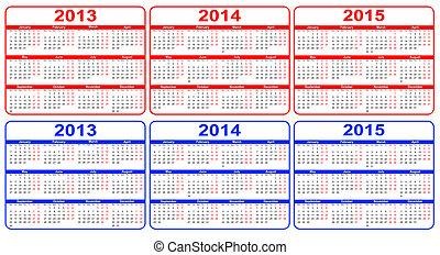 calendário, 2013-2015, vetorial