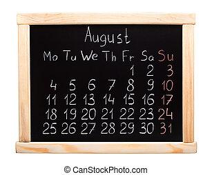 Calendário,  2014, agosto