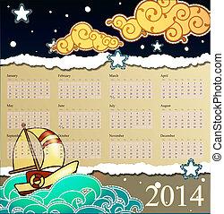 calendário, 2014., caricatura, stile, navio, velejando, em, a, noturna