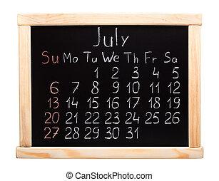 Calendário,  2014, julho
