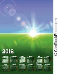 calendário, 2016, com, ensolarado, paisagem