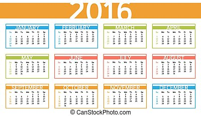 calendário, 2016, engl, coloridos, ano