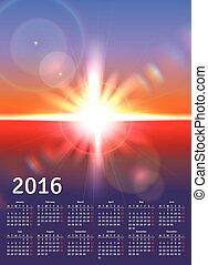 calendário, 2016, ensolarado, paisagem