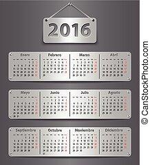 calendário, 2016, espanhol