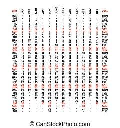 calendário, 2016, vertical
