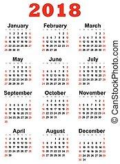 calendário, 2018, ano