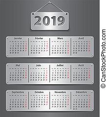 calendário, 2019, francês, tabuleta, metálico