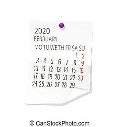 calendário, 2020, fevereiro