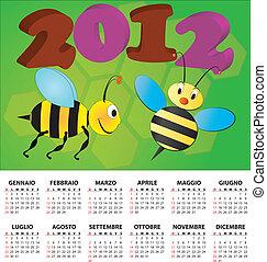 calendário, abelha, italiano