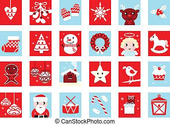 calendário advento, retro, natal, ícones, isolado, branco