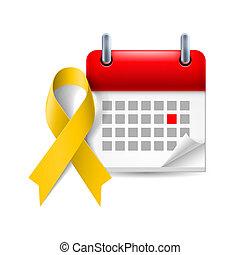 calendário, amarela, consciência, fita