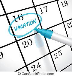 calendário, círculo, palavra, férias, marcado