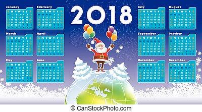 calendário, claus, 2018, santa