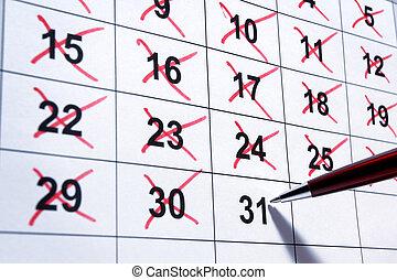 calendário, closeup