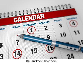 calendário, closeup, página