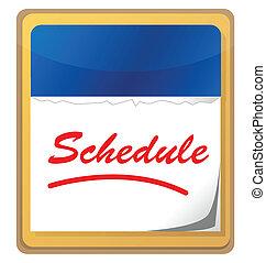 calendário, com, a, palavra, programa