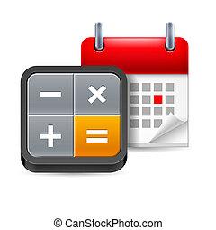 calendário, com, calculadora