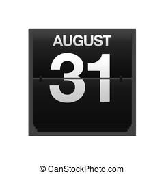 calendário, contador, agosto, 31.