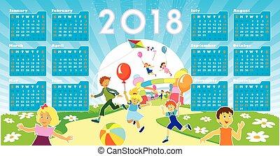 calendário, crianças, 2018