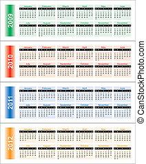 calendário, de, 2009-2012, years.