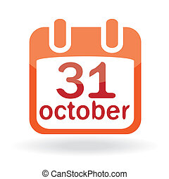 calendário, dia das bruxas, ícone