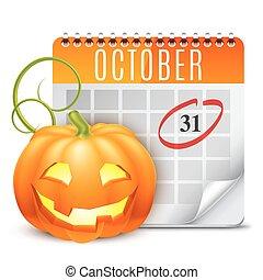 calendário, dia das bruxas