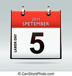 calendário, dia labor, ícone