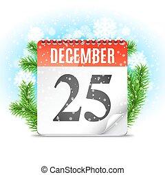 calendário, dia natal