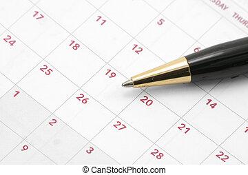 calendário, e, caneta